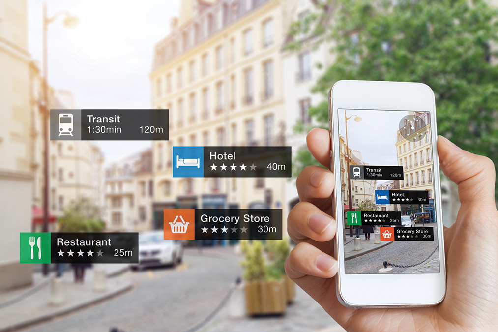 Augmented Reality information technology, hand, smartphone scree